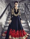 image of Blue Georgette Floor Length Embroidered Anarkali