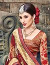 photo of Beige And Red Color Party Wear Art Silk Saree With Designer Embroidered Blouse
