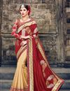 image of Beige And Red Color Party Wear Art Silk Saree With Designer Embroidered Blouse