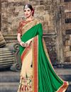 image of Embroidered Designer Party Wear Art Silk Saree In Green And Beige Color