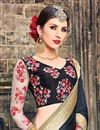 photo of Black And Beige Color Designer Saree With Embroidery Work