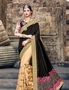 image of Black And Beige Color Designer Saree With Embroidery Work