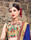 photo of Beige And Blue Color Stylish Party Wear Embroidered Saree In Art Silk Fabric