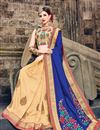 image of Beige And Blue Color Stylish Party Wear Embroidered Saree In Art Silk Fabric