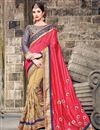 image of Pink And Beige Color Charming Designer Art Silk Saree With Embroidery Work