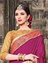 photo of Embroidered Designer Party Wear Art Silk Saree In Pink And Beige Color