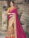 image of Embroidered Designer Party Wear Art Silk Saree In Pink And Beige Color