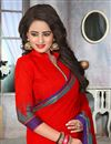 photo of Intriguing Red Color Party Wear Cotton Jute Saree With Unstitched Blouse