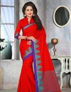 image of Intriguing Red Color Party Wear Cotton Jute Saree With Unstitched Blouse