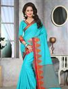 image of Exemplary Cotton Jute Party Wear Saree With Jacquard Weaving Design In Sky Blue Color