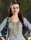 photo of Grey Color Party Wear Patiala Salwar Kameez In Cotton Fabric With Embroidery Work