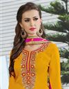 photo of Embroidered Yellow Color Patiala Salwar Suit In Cotton Fabric