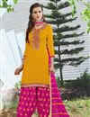 image of Embroidered Yellow Color Patiala Salwar Suit In Cotton Fabric