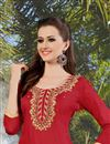 photo of Stylishly Designed Red Color Cotton Patiala Salwar Kameez With Embroidery Work