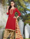 image of Stylishly Designed Red Color Cotton Patiala Salwar Kameez With Embroidery Work