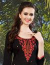 photo of Stylishly Designed Black Color Cotton Patiala Salwar Kameez With Embroidery Work