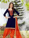 image of Elegant Cotton Fabric Patiala Salwar Kameez In Gorgeous Blue Color