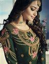photo of Designer Dark Green Georgette Fancy Sharara Dress With Banarasi Silk Dupatta
