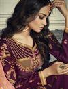 photo of Georgette Party Style Fancy Purple Sharara Dress With Banarasi Silk Dupatta