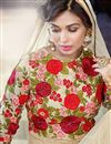 picture of Floor Length Embroidered Georgette Anarkali Salwar Suit in Cream Color