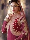picture of Maroon Color Georgette Anarkali Salwar Kameez with Embroidery Work