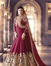 image of Maroon Color Georgette Anarkali Salwar Kameez with Embroidery Work