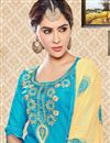 photo of Lovely Party Wear Cyan Color Designer Suit In Cotton Fabric