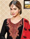 photo of Cotton Fabric Festive Wear Embroidered Salwar Kameez In Superb Black Color