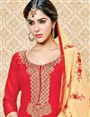 photo of Dazzling Red Color Designer Party Wear Suit In Cotton Fabric With Embroidery Work