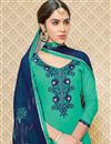 photo of Designer Cotton Suit With Classic Embroidery Work In Green Color