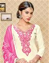 photo of Cotton Fabric Festive Wear Embroidered Salwar Kameez In Superb Cream Color