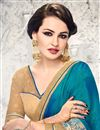 photo of Attractive Blue Color Designer Wedding Wear Satin And Jacquard Saree With Unstitched Blouse