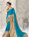 image of Attractive Blue Color Designer Wedding Wear Satin And Jacquard Saree With Unstitched Blouse