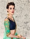 photo of Radiant Cyan Color Embroidered Saree In Satin And Georgette Fabric With Designer Unstitched Bangalori Silk And Net Blouse
