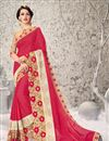 image of Graceful Pink Color Designer Georgette And Net Festive Wear Saree With Unstitched Bangalori Silk And Net Blouse