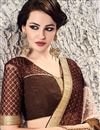photo of Designer Wedding Wear Brown Color Satin And Georgette Saree With Embroidery Work