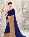 image of Attractive Blue Color Designer Wedding Wear Chiffon And Net Saree With Unstitched Blouse