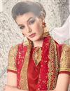 photo of Radiant Red Color Embroidered Saree In Georgette And Net Fabric With Designer Unstitched Bangalori Silk And Net Blouse
