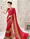 image of Radiant Red Color Embroidered Saree In Georgette And Net Fabric With Designer Unstitched Bangalori Silk And Net Blouse