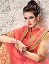 photo of Radiant Peach Color Embroidered Saree In Georgette And Net Fabric With Designer Unstitched Bangalori Silk And Net Blouse