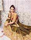 photo of Superb Festive Wear Designer Mehendi Green Color Embroidered Satin And Jacquard Saree