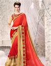 image of Graceful Red Color Designer Georgette Festive Wear Saree With Unstitched Bangalori Silk And Net Blouse