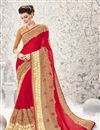 image of Designer Wedding Wear Pink Color Georgette And Net Saree With Embroidery Work