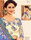 photo of Fancy Function Wear Blue Color Silk Fabric Saree With Digital Print Embellished Blouse