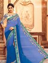 image of Fancy Blue Color Silk Fabric Party Wear Saree With Digital Print Embroidered Blouse
