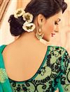 photo of Designer Party Wear Teal Color Silk Fabric Saree With Fancy Digital Print Blouse