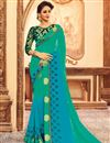 image of Designer Party Wear Teal Color Silk Fabric Saree With Fancy Digital Print Blouse