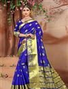 photo of Weaving Work Function Wear Cotton Fabric Saree In Blue Color