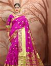 image of Festive Wear Weaving Work Saree In Cotton Fabric Magenta