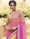 photo of Pink-Yellow Georgette Embroidered Saree-46029